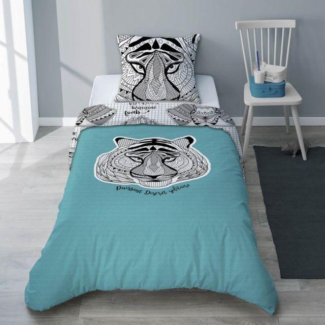 selene et gaia parure housse de couette et taie enfant tigre turquoise pour gar on animaux. Black Bedroom Furniture Sets. Home Design Ideas