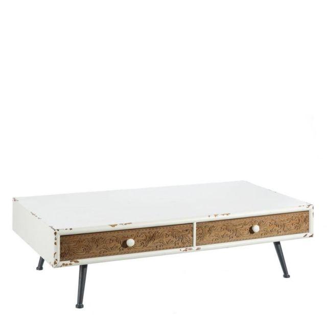 Tousmesmeubles Table basse 2 tiroirs - Tool