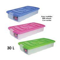 Msv - Boîte de rangement en polypropylène, avec roulettes, 30 L
