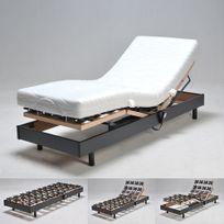 No Name - Sommier relaxation électrique Flexpalace 80x200 Cm tête et pied relevables/ Noir