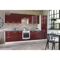 Meuble cuisine rouge achat meuble cuisine rouge pas cher for Meuble haut cuisine rouge laque