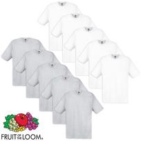 Fruit Of The Loom - 10 t-shirts originaux 100 % coton Blanc et gris