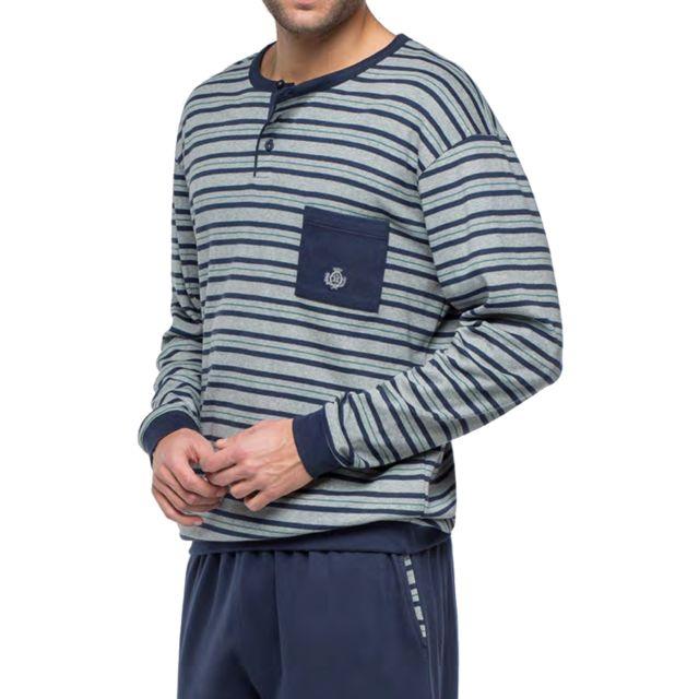 Guasch Pyjama long en coton forme jogging : sweat col tunisien à rayures bleu marine, vertes et gris chiné et pantalon bleu mar