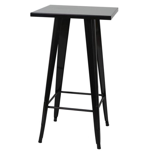 Decoshop26 Table haute mange debout style industriel en métal noir Tab04008
