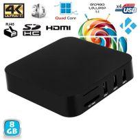 Yonis - Mini Pc Android Tv Box Kodi média player 4K Smart Tv 3D WiFi 8Go Noir