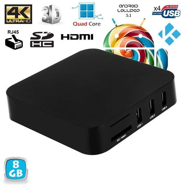Yonis Mini Pc Android Tv Box Kodi média player 4K Smart Tv 3D WiFi 8Go Noir Transformer votre télévision en une Smart Tv connectée Android grâce à cette Android Tv Box 4K qui vous offrira une expérience Uhd qui vous ravira à coup sûr ! Avec son processeur