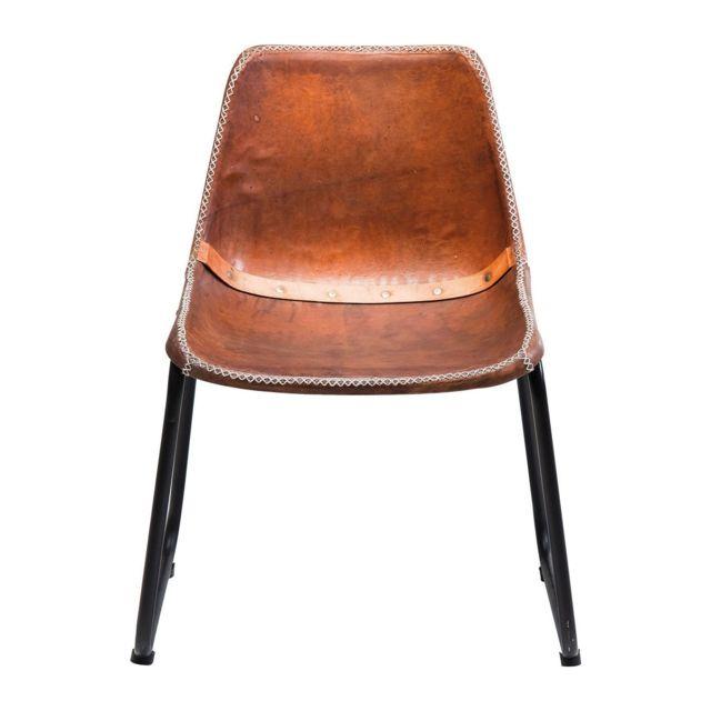 Karedesign Chaise Vintage cuir marron Kare Design