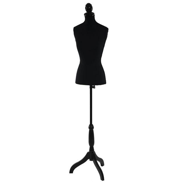 Mendler Mannequin de couture de tailleur buste torse féminin T220 ~ mousse, noir