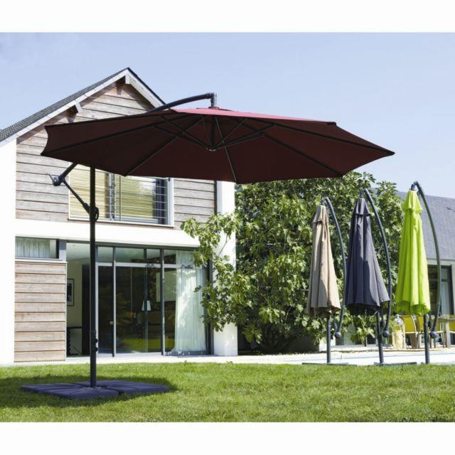 Parasol boston. dim. ø. 3 m. structure en acier et mât en aluminium gris silver. toile en polyester 180 g/m². coloris :