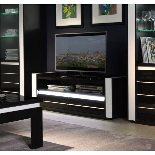 Price Factory Meuble Tv Lina Noir Et Blanc Brillant Led Pas
