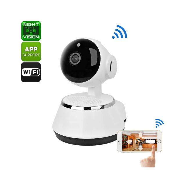 auto hightech cam ra ip sans fil 720p enregistrement carte sd ios android vision nocturne. Black Bedroom Furniture Sets. Home Design Ideas