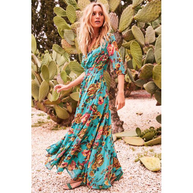 Hipanema Robe Longue manches courtes Amenapih, Turquoise