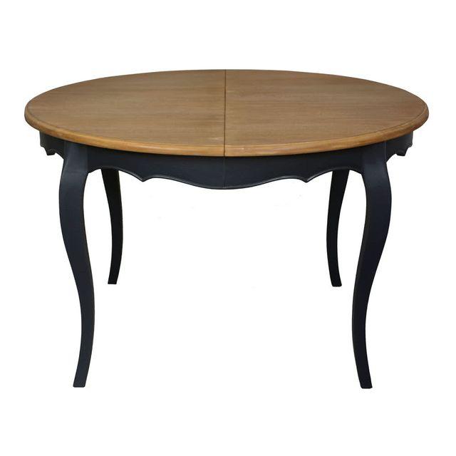 Table salle à manger extensible plateau bois massif gris anthracite Pauline