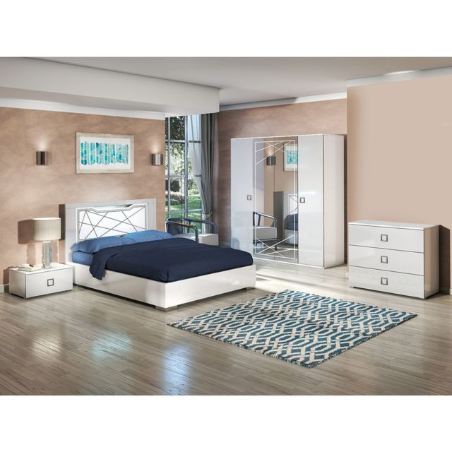 Altobuy Rosabel - Chambre Complète 160x200cm avec Commode