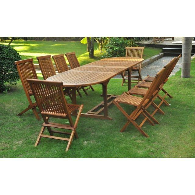 Magnifique salon de jardin teck massif \'huilé\' 12/14 pers chaises + table  ovale 300cm