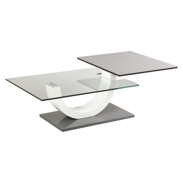 plateau table basse verre