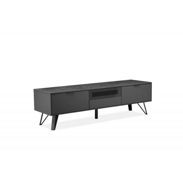 meubletmoi meuble tv gris anthracite bois c ramique et pied m tal onyx pas cher achat. Black Bedroom Furniture Sets. Home Design Ideas