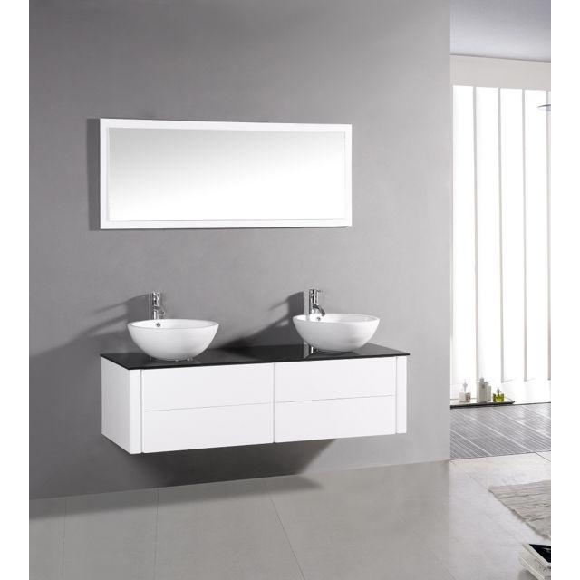 Concept Usine Lilia Blanc : ensemble salle de bain meuble + 2 vasques + 1 miroir