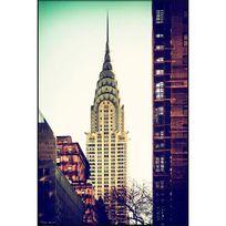 Cm Création - Tableau en bois cadre noir New York Chrysler building film brillant 60x90cm Indus Spirit