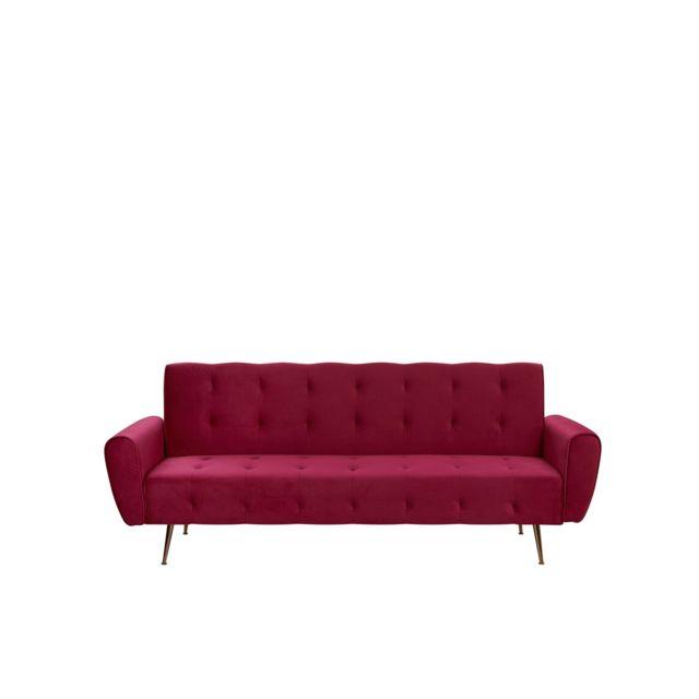 BELIANI Canapé convertible velours rouge bordeaux SELNES - rouge