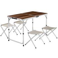 122 Table Tabourets Aluminium De Cm 61 Marron Valise En Camping 694 Pliante X HYDIeW9E2