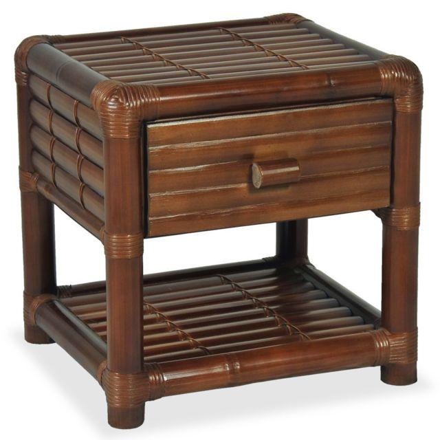 Helloshop26 Table de nuit chevet commode armoire meuble chambre 50 x 45 x 40 cm bambou marron foncé 1402058
