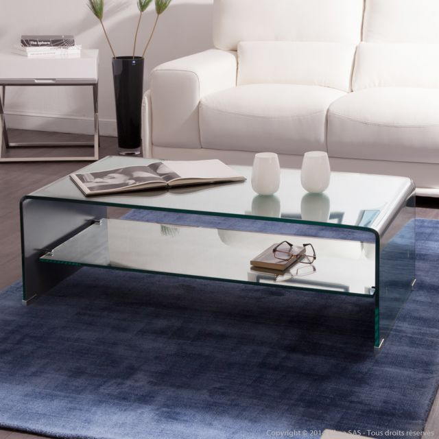 838647fd46c82f Axe design - Table basse rectangulaire verre courbé avec tablette L110cm  Hegoa effet Miroir