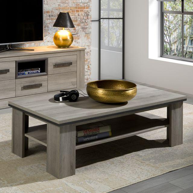 Nouvomeuble Table basse 130 cm coloris chêne clair Philippine