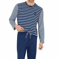 Athena - Pyjama long en coton : tee-shirt manches longues col rond à rayures bleu marine et blanches, pantalon bleu marine