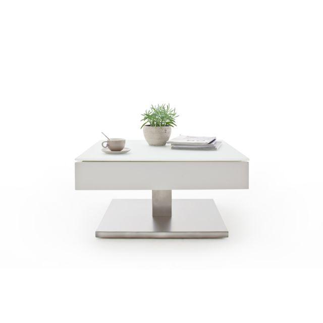 Pegane Table basse pivotant avec plateau en verre blanc mat - L75 x H38 x P75 cm