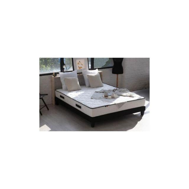 Confort Design Ensemble Aerofresh 100% Francais Matelas + Sommier 160x200 - 7 Zones - Anti-transpiration