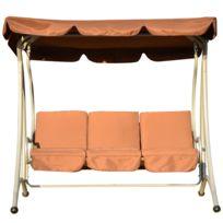 HOMCOM - Balancelle balancoire fauteuil de jardin en acier 3 places charge max. 360kg chocolat 90