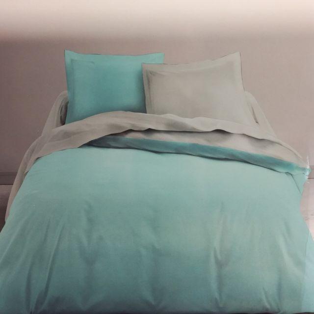 91f3249068e450 Les Douces Nuits de Maé - Housse de couette 220x240 Bicolore + 2 taies Bleu  zinc