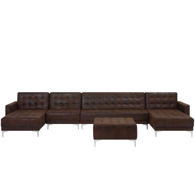 Beliani Canapé 6 places modulable en U en simili cuir avec pouf marron Aberdeen