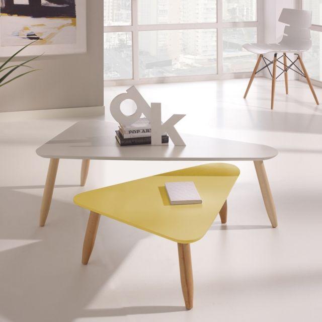 Tousmesmeubles Tables gigognes triangle Blanc/Jaune - Ovni - L 100 x l 57 x H 36