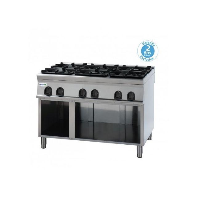 Materiel Chr Pro Fourneau sur meuble - top 6 feux vifs gaz sur placard ouvert 30 kW - gamme 700 - Tecnoinox - 700
