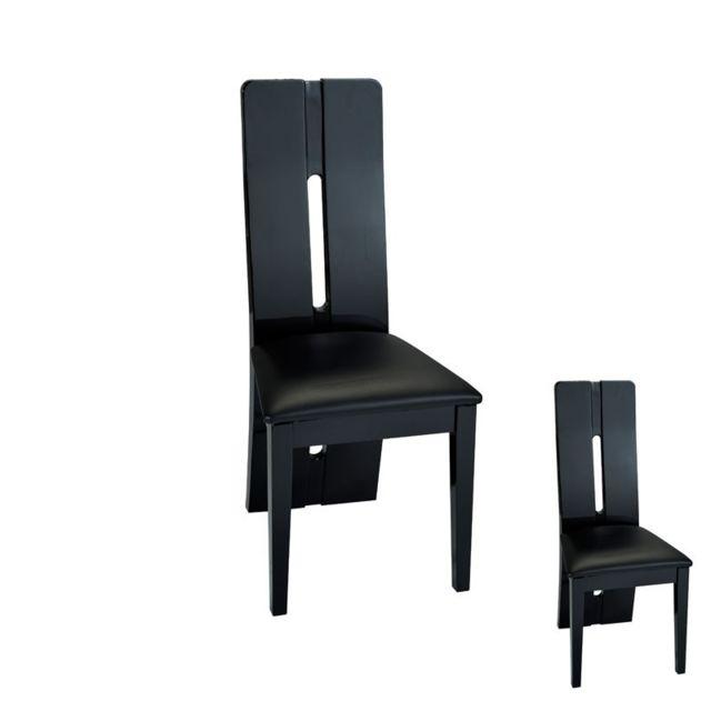 tousmesmeubles duo de chaises simili cuir noir fily - Chaise Simili Cuir