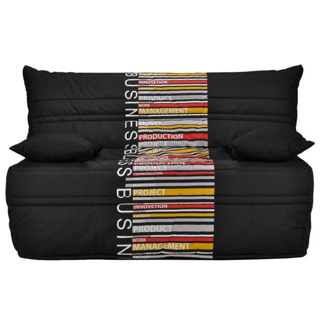KASALINEA Canapé BZ noir à motif multicolore LAMARTINE