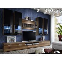 Asm-mdlt - Ensemble meuble Tv Dorade en prunier et noir de haute brillance avec Led