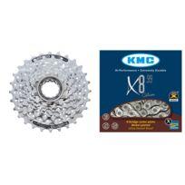 Shimano - Cs-hg51 cassette 11-30 et chaîne Kmc X-8-99 - Kit pignon et chaîne - 8 vitesses argent