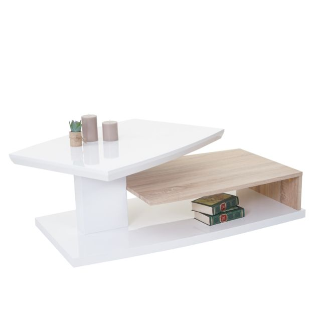 Mendler Mca table basse de salon Hl design Corinne, aspect chêne, poli fin, rotatif 40x115x60cm