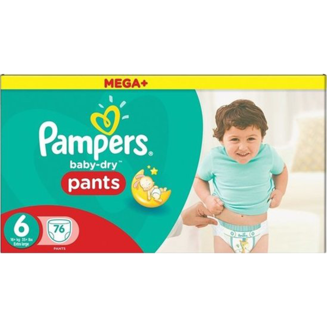 Couches-culottes Taille 6 +15 kg Pampers - Mega+ Pack Baby Dry Pants x76 culottes