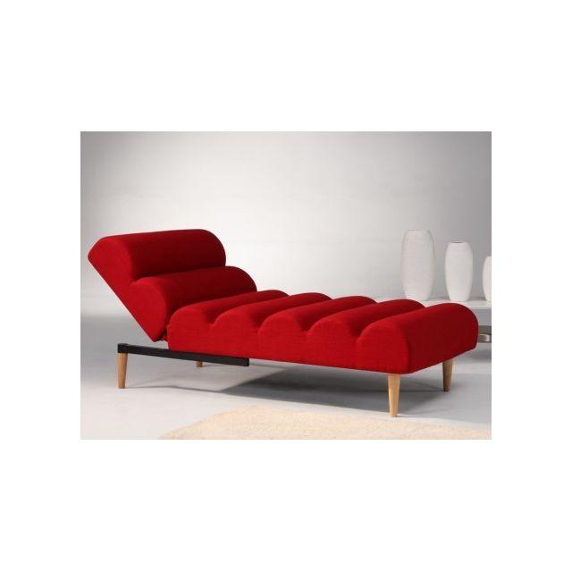 Méridienne convertible en tissu Cival - Rouge