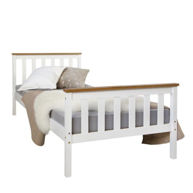 Homestyle4U Lit en bois de jeunesse 90 x 200 blanc