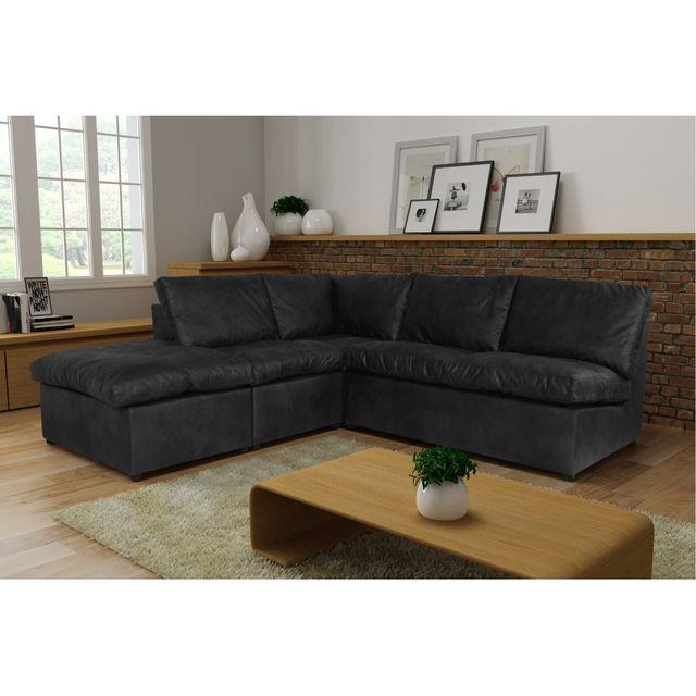 Rocambolesk Canapé d'angle Avanti Flexi 2A1P tobago gris anthracite sofa divan