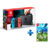 Console Switch avec un Joy-Con rouge néon et un Joy-Con bleu néon + The Legend of Zelda: Breath of the Wild