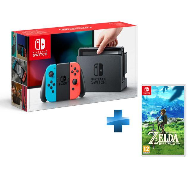 NINTENDO - Console Switch avec un Joy-Con rouge néon et un Joy-Con bleu néon + The Legend of Zelda: Breath of the Wild