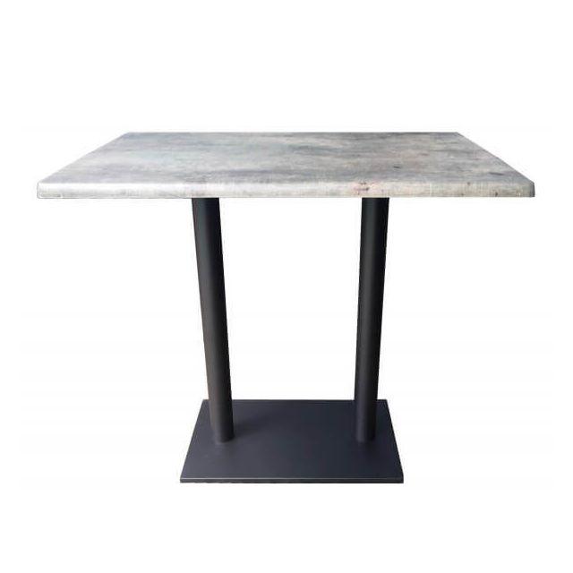 Mathi Design Oakland- Table haute avec plateau aspect béton gris
