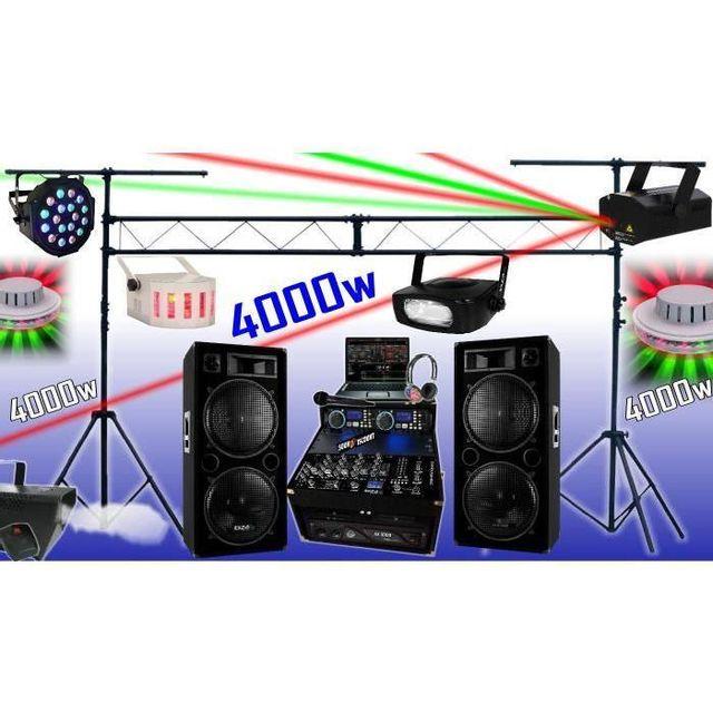 Ibiza Sound Sono complète 4000w - portique - 6 jeux de lumière - fumée - ampli enceintes cd mixage micro dj casque - la totale pa dj