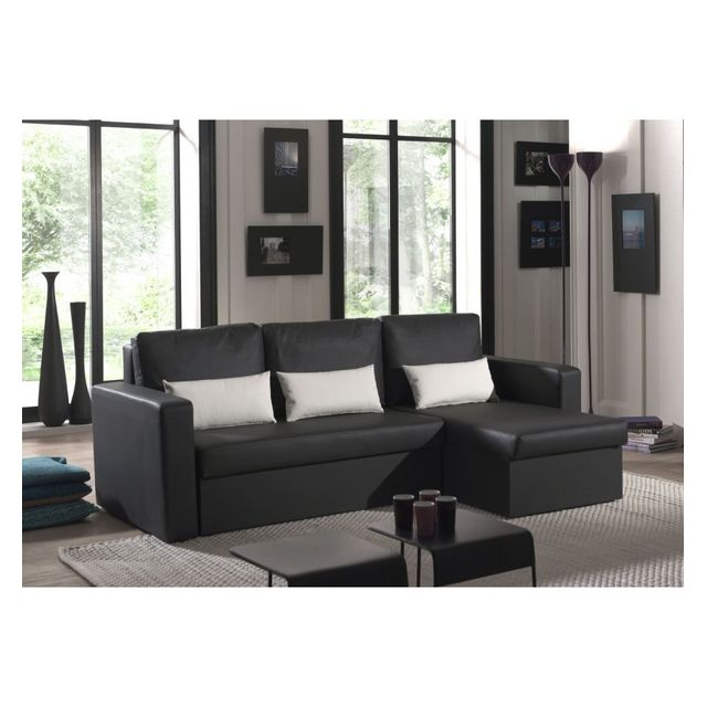g n rique canap angle imitation cuir noir romeo achat vente canap s pas chers rueducommerce. Black Bedroom Furniture Sets. Home Design Ideas